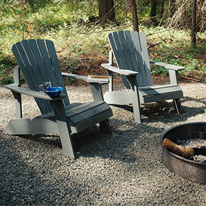 Getaway chairs by a campfire