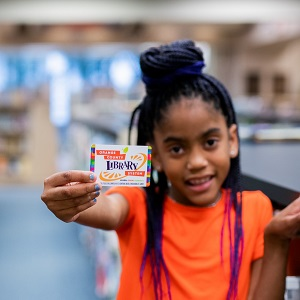 girl with library card